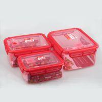 厂家直销572丰悦长方形三套庄保鲜盒野外露营便当盒密封微波冷冻塑料优质透明PP食物收纳盒学生午餐饭盒