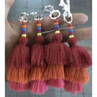 木珠毛线流苏钥匙扣箱包毛线挂件