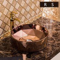 欧式陶瓷电镀彩色卫生间圆形台上洗手台上洗脸盆