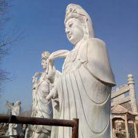 供应大理石石雕观音 汉白玉寺庙人物佛像 石雕滴水观音雕塑石材加工厂家