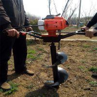 富兴机械大型园林种植双钻头打眼机 牵引式快速螺旋式园林挖坑机