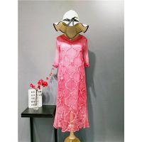 18年新款真丝刺绣印花长款连衣裙中国复古风旗袍改良连衣裙