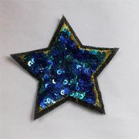 蓝色亮片五角星布贴补丁商标