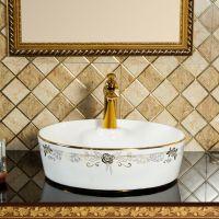 圆形陶瓷台上镀金简约玫瑰欧式单孔洗手盆