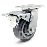 大世脚轮 5寸带刹车静音轮 重型弹力静音轮 TPE活动轮子 带刹保护地面