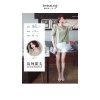夏装韩版宽松大码纯色棉麻短袖t恤女短款纯棉女装半袖上衣打底衫
