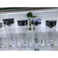 希诺双层玻璃杯 西安透明水杯 直身水晶过滤玻璃杯 带盖