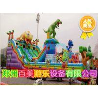 广西柳州庙会儿童充气城堡,变色龙攀岩充气滑梯经营赚大钱!