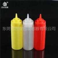 PP 350g带盖尖嘴瓶 350ml毫升食品包装塑料瓶 番茄汁酱瓶