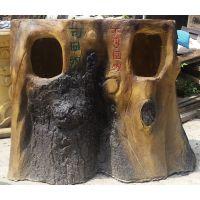 室外仿木垃圾桶造型雕塑 佛山名图玻璃钢厂家专业定制