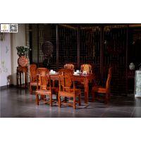 如金红木餐桌七件套组合-红木餐桌品牌-古典中式东阳红木餐桌供应
