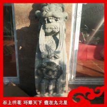 漳州石材芝麻黑石雕抱鼓石 来图加工
