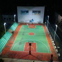 乡村篮球场一拖二照明灯杆 江门学校球场400W-LED灯具安装 柏克灯杆定做