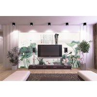 客户简约水墨画背景墙 水墨山水背景画定制 电视沙发客厅背景墙