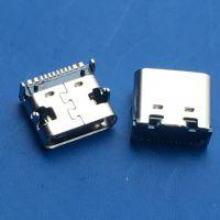 TYPE C板上型16 24PIN母座前插后插四脚插板DIP+SMT带柱黑胶