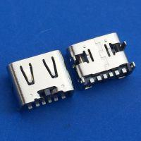 USB TYPE-C 3.1 母座 板上6P母座 前插后贴type 四脚插板+6P单排SMT 带凸包