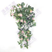 浩晟仿真植物把束粉红色玫瑰花藤假薰衣草仿真度高色彩逼真pe材质可定制塑料植物把束