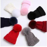 2017冬季新款韩版毛线针织帽子 狐狸毛球帽子加厚保暖时尚帽 可拆卸