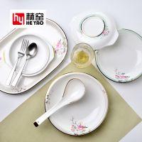 赫窑 唐山厂家直销釉上彩32头中式骨瓷餐具套装陶瓷碗盘碟商务礼品家用定制logo