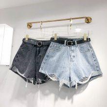 义乌牛仔裤批发市场夏季三分裤便宜短裤批发韩版女装短裤浅蓝棉