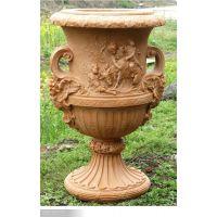 各种不同材质的石雕花盆