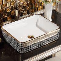 热销陶瓷电镀金色方形无孔台上艺术洗手盆
