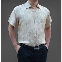 夏季新款中老年男士短袖杭州真丝衬衣夏装半袖桑蚕丝上衣米黄衬衫
