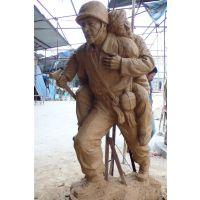 抗日战争题材八路军将军和战士雕塑摆件雕像保成定制