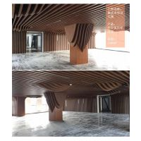 幕墙造型铝合金方通 艺术铝格栅天花吊顶 弧形木纹转印铝方通