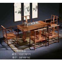 古雨轩中式茶桌茶会所私人定制,红木家具新中式家具茶桌茶台,功夫茶桌茶台