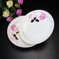 陶瓷餐具 金叶玫瑰描金8寸盘子 批发定做骨瓷盘碗碟 促销活动礼品
