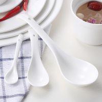 酒店家用纯白色陶瓷勺子大中小号饭勺汤勺咖啡勺调羹酒店用品白瓷