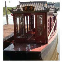 厂家供应8米电动画舫船 观光旅游船 大型双层水上餐厅画舫木船