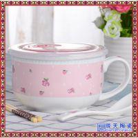 景德镇骨瓷保鲜碗三件套大号泡面碗 家用大号陶瓷餐具便当饭盒