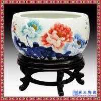 景德镇陶瓷乌龟缸 中国红牡丹金鱼盆 风水聚宝盆字画缸