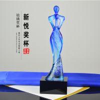 广州水晶琉璃奖杯定制 创意抽象奖杯 优秀员工 美容选美比赛奖杯 娱乐颁奖