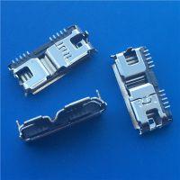 MICRO USB3.0连接器B型母座SMT两脚DIP插板8P MICRO 卷边 黑胶芯 (2)