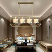 新中式铁艺吊灯创意客厅装修布艺餐吊灯卧室书房灯具批发