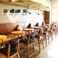 上海星巴克咖啡厅实木吧椅高脚凳定做