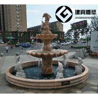 大理石海豚石雕喷水海豚雕塑喷泉