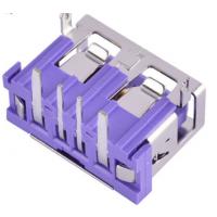 5A大电流母座 两脚插板90度DIP USB快充母座 紫色胶芯A母短体10.0