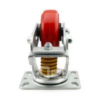 大世脚轮 多尺寸圆弧防震轮子 聚氨酯制动D型防震脚轮