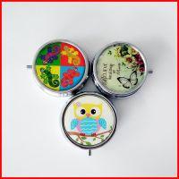 圆形三格金属药盒钥匙扣 环保便携简易药丸盒 创意糖果盒