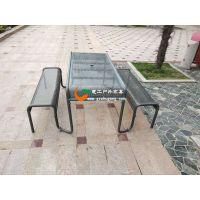 金属冲孔板桌椅,广场铁艺休闲桌椅,小区铁质连体坐凳