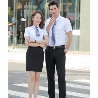 海珠区定制夏季企业职业衬衫-男女同款工作服衬衣定做刺绣logo左胸前-厂家直销