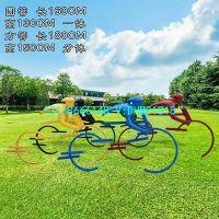 骑自行车主题雕塑卷曲独轮车抽象摆件铁艺骑单车铸铜雕像彩绘玻璃钢骑山地车运动人物塑像现货