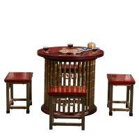 鸿升茶桌纯铜家具新中式实木纯铜茶桌茶几木饰面嵌铜条