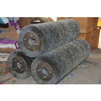 优质钢丝辊生产厂家 钢板酸洗线缠绕型压片型不锈钢钢丝丝辊刷 弯曲钢丝不锈钢板清洗机钢丝辊刷