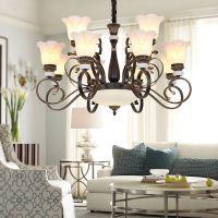 厂家直销乡村铁艺美式玻璃吊灯适用客厅餐厅酒店卧室可调复古美式吊灯