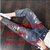 广州的尾货批发市场在哪里 便宜韩版时尚破洞高腰九分牛仔裤